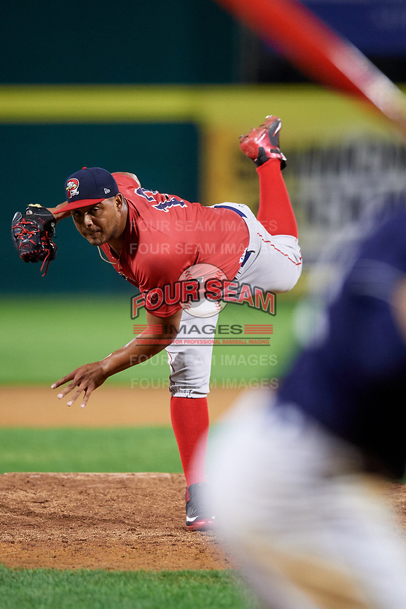 Portland Sea Dogs relief pitcher Darwinzon Hernandez (13) delivers a pitch during a game against the Binghamton Rumble Ponies on August 31, 2018 at NYSEG Stadium in Binghamton, New York.  Portland defeated Binghamton 4-1.  (Mike Janes/Four Seam Images)