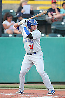 Renato Nunez #34 of the Stockton Ports bats against the Visalia Rawhide at Rawhide Ballpark on May 5, 2014 in Visalia California. Visalia defeated Stockton, 8-6. (Larry Goren/Four Seam Images)