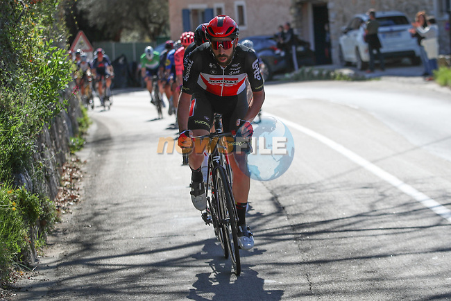 Thomas De Gendt (BEL) Lotto-Soudal leads the breakaway duringStage 7 of Paris-Nice 2021, running 119.2km from Le Broc to Valdeblore La Colmiane, France. 13th March 2021.<br /> Picture: ASO/Fabien Boukla | Cyclefile<br /> <br /> All photos usage must carry mandatory copyright credit (© Cyclefile | ASO/Fabien Boukla)