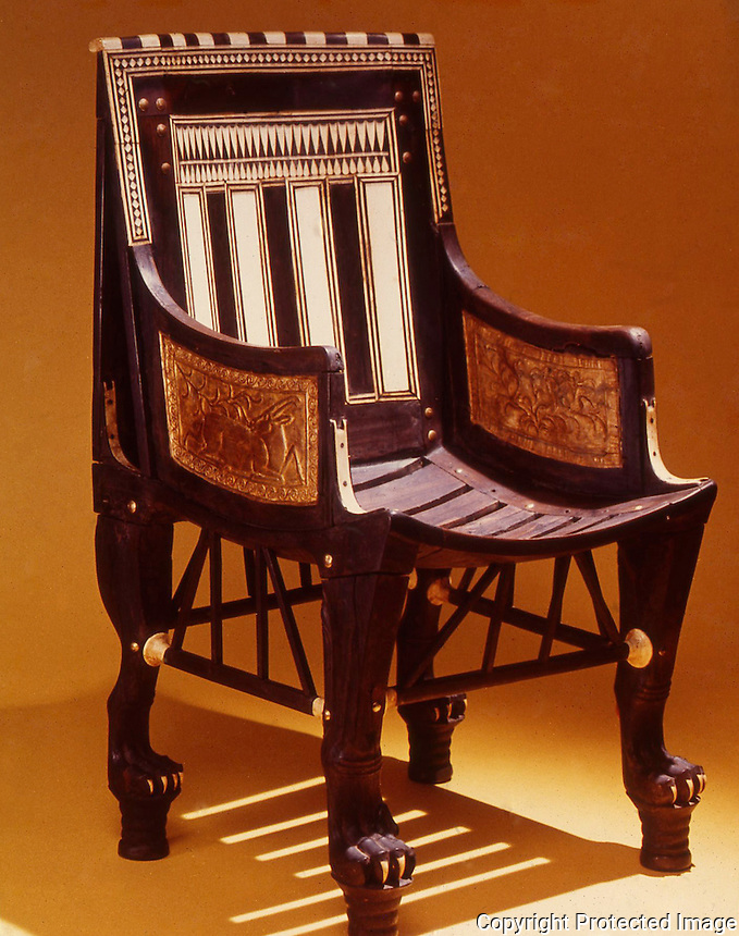 Egypt:  Child's Chair--wood.  Treasures of Tutankhamun, Cairo Museum.  MMA 1976.