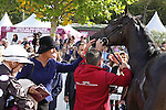 October 02, 2016, Chantilly, FRANCE -  Connection of Speedy Boarding after winning the Prix de'l Opera Longines (Gr. I) at  Chantilly Race Course  [Copyright (c) Sandra Scherning/Eclipse Sportswire)