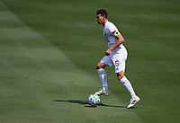LOS ANGELES, CA - AUGUST 22: Daniel Steres #5 of the Los Angeles Galaxy moves with the ball during a game between Los Angeles Galaxy and Los Angeles FC at Banc of California Stadium on August 22, 2020 in Los Angeles, California.