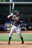 Colorado Rockies Garrett Hampson (76) during an Instructional League game against the Los Angeles Angels of Anaheim on October 6, 2016 at the Tempe Diablo Stadium Complex in Tempe, Arizona.  (Mike Janes/Four Seam Images)