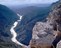 Afternoon light on the Green River in Whirlpool Canyon viewed from Harper's Corner; Dinosaur National Monument, CO