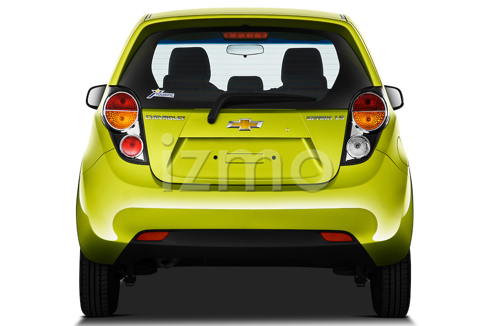 Straight rear view of a 2011 Chevrolet Spark LS 5 Door Hatchback