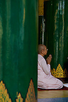 Nun in prayers, Shwedagon Pagoda, Yangon