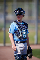 Tampa Bay Rays catcher Jordyn Muffley (69) during a Minor League Spring Training game against the Boston Red Sox on March 25, 2019 at the Charlotte County Sports Complex in Port Charlotte, Florida.  (Mike Janes/Four Seam Images)