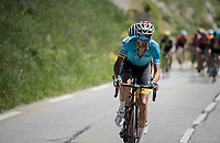 Fabio Aru (ITA/Astana) trying to break free from the (much reduced) peloton<br /> <br /> stage 7: Aoste > Alpe d'Huez (168km)<br /> 69th Critérium du Dauphiné 2017