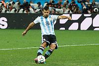 Sergio Aguero of Argentina scores a penalty