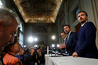 Massimiliano Romeo, Matteo Salvini and Riccardo Molinari Lega Nord Party<br /> Rome August 28th 2019. Quirinale. Consultation with the President of the Republic for the new Government day two.<br /> Foto  Samantha Zucchi Insidefoto