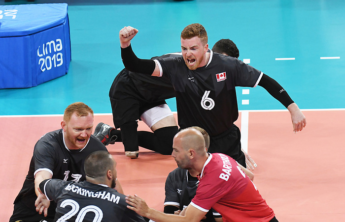 Austin Hinchey, Mickael Bartholdy, Darek Symonowics, and Jesse Buckingham, Lima 2019 - Sitting Volleyball // Volleyball assis.<br /> Canada competes in men's Sitting Volleyball // Canada participe au volleyball assis masculin. 24/08/2019.