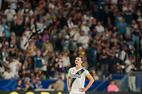 CARSON, CA - SEPTEMBER 15: Zlatan Ibrahimovic #9 of the Los Angeles Galaxy celebrate a goal during a game between Sporting Kansas City and Los Angeles Galaxy at Dignity Health Sports Complex on September 15, 2019 in Carson, California.