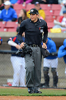 Umpire Sam Vogt during a game between the Kane County Cougars and Beloit Snappers May 26, 2013 at Fifth Third Bank Ballpark in Geneva, Illinois.  Beloit defeated Kane County 6-5.  (Mike Janes/Four Seam Images)
