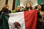 Rosario Ibarra de Piedra, of the leftist Party of Democratic Revolution takes over the presidium along with her comrades and to stop President Vicente Fox to give his State of the Nation, September 1, 2006. Photo by Heriberto Rodriguez