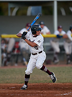 Braden River Pirates Sean Vitug (12) bats during a game against the Venice Indians on February 25, 2021 at Braden River High School in Bradenton, Florida. (Mike Janes/Four Seam Images)