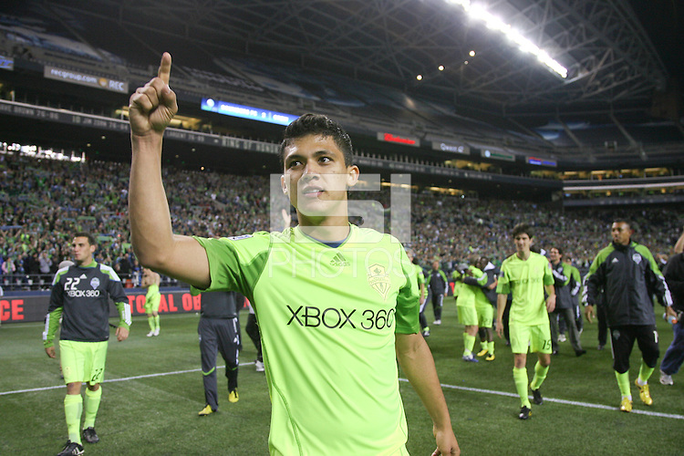 Fredy Montero (17 )of the Seattle Sounders FC celebrates with teamates. The Seattle Sounders FC defeated the Columbus Crew 2-1 during the US Open Cup Final at Qwest Field in Seattle,WA, on October 5, 2010.