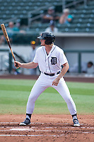 Mesa Solar Sox left fielder Cam Gibson (3), of the Detroit Tigers organization, at bat during a game against the Salt River Rafters on October 18, 2017 at Sloan Park in Mesa, Arizona. The Rafters defeated the Solar Sox 6-5.(Zachary Lucy/Four Seam Images)