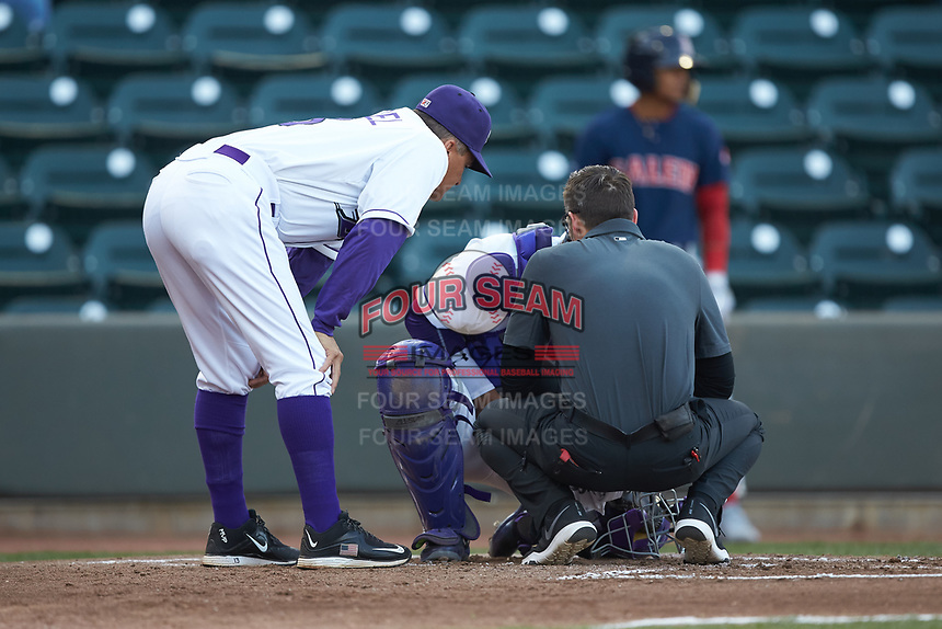 Winston-Salem Dash manager Omar Vizquel (left) and trainer Josh Fallin check on catcher Yermin Mercedes (6) after he was hit with a foul ball during the game against the Salem Red Sox at BB&T Ballpark on April 21, 2018 in Winston-Salem, North Carolina.  The Dash walked-off the Red Sox 4-3.  (Brian Westerholt/Four Seam Images)