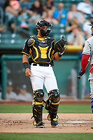 Carlos Perez (19) of the Salt Lake Bees on defense against the Reno Aces in Pacific Coast League action at Smith's Ballpark on June 15, 2017 in Salt Lake City, Utah. The Aces defeated the Bees 13-5. (Stephen Smith/Four Seam Images)