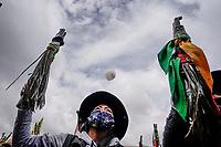 BOGOTA - COLOMBIA, 21-10-2020: Miles de manifestantes salieron a las calles de Bogotá para unirse a la jornada de paro Nacional en Colombia hoy, 21 de octubre de 2020. La jornada Nacional es convocada para rechazar el mal gobierno y las decisiones que vulneran los derechos de los Colombianos. / Thousands of protesters took to the streets of Bogota to join the National Strike day in Colombia today, October 21, 2020. The National Strike is convened to reject bad government and decisions that violate the rights of Colombians. Photo: VizzorImage / Diego Cuevas / Cont