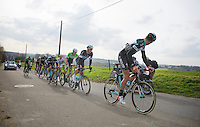 Tom Boonen (BEL) piloted by his teammate Guillaume Van Keirsbulck (BEL) over the Holstraat climb<br /> <br /> Kuurne-Brussel-Kuurne 2014