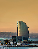 Hotel W or Hotel Vela by architect Ricardo Bofill, Barcelona, Spain