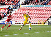 10th October 2020; The County Ground, Swindon, Wiltshire, England; English Football League One; Swindon Town versus AFC Wimbledon; Joe Pigott of AFC Wimbledon shoots to score his sides 1st goal in the 27th minute to make it 0-1