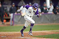 Sam Zayicek (28) of the High Point Panthers hustles down the first base line against the Campbell Camels at Williard Stadium on March 16, 2019 in  Winston-Salem, North Carolina. The Camels defeated the Panthers 13-8. (Brian Westerholt/Four Seam Images)