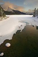 Sunset at Maligne Lake in January