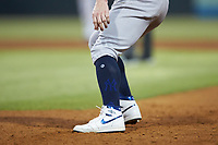 A close-up of the Air Jordan cleats worn by Clint Frazier (77) during the game against the Gwinnett Stripers at Coolray Field on August 16, 2019 in Lawrenceville, Georgia. The Stripers defeated the RailRiders 5-2. (Brian Westerholt/Four Seam Images)