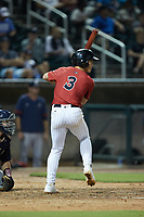 JJ Muno (3) of the Birmingham Barons at bat against the Mississippi Braves at Regions Field on August 3, 2021, in Birmingham, Alabama. (Brian Westerholt/Four Seam Images)