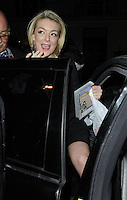 "SHERIDAN SMITH .Departed after the first preview performance of ""Flare Path"", Haymarket, London, England, UK, 4th March 2011..half length getting into car black holding video case .CAP/CAN.©Can Nguyen/Capital Pictures."