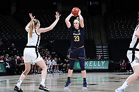 WINSTON-SALEM, NC - FEBRUARY 06: Sam Brunelle #33 of the University of Notre Dame holds the ball during a game between Notre Dame and Wake Forest at Lawrence Joel Veterans Memorial Coliseum on February 06, 2020 in Winston-Salem, North Carolina.
