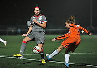20131017 - GLASGOW , SCOTLAND :  Glasgow's Sarah Crilly (right) pictured with Standard's Cecile De Gernier trying to stop the pass during the female soccer match between GLASGOW City Ladies FC and STANDARD Femina de Liege , in the 1/16 final ( round of 32 ) second leg in the UEFA Women's Champions League 2013 in Petershill Park in Glasgow. First leg ended in a 2-2 draw . Thursday 17 October 2013. PHOTO DAVID CATRY