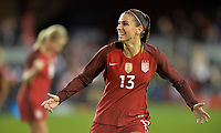 San Jose, CA - Sunday November 12, 2017: Alex Morgan scores and celebrates during an International friendly match between the Women's National teams of the United States (USA) and Canada (CAN) at Avaya Stadium.