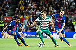 Joan Jordan Moreno (C) of SD Eibar fights for the ball with Jose Paulo Bezerra Maciel Junior, Paulinho, of FC Barcelona (L) and Sergio Busquets Burgos of FC Barcelona  (R) during the La Liga 2017-18 match between FC Barcelona and SD Eibar at Camp Nou on 19 September 2017 in Barcelona, Spain. Photo by Vicens Gimenez / Power Sport Images