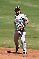 Mobile BayBears third baseman Garrett Weber (4) during a game against the Huntsville Stars on April 23, 2014 at Joe Davis Stadium in Huntsville, Tennessee.  Huntsville defeated Mobile 4-1.  (Mike Janes/Four Seam Images)