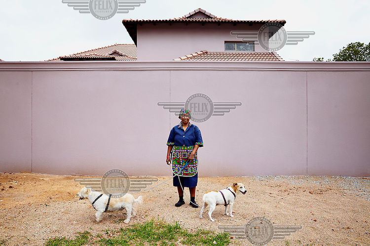 Domestic worker Willamina with Jack, Fred and Fluffy, 8th Avenue, Riviera.