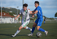 Action from the Central League football match between Wellington Olympic and Wainuiomata at Wakefield Park in Wellington, New Zealand on Saturday, 22 May 2021. Photo: Dave Lintott / lintottphoto.co.nz
