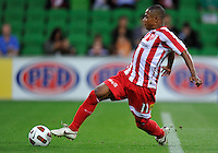 MELBOURNE, AUSTRALIA - JANUARY 09: Alex Terra of the Heart controls the ball during the round 23 A-League match between the Melbourne Heart and Gold Coast United at AAMI Park on January 19, 2011 in Melbourne, Australia. (Photo by Sydney Low / Asterisk Images)