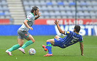 Blackburn Rovers' Lewis Travis battles with Wigan Athletic's Sam Morsy<br /> <br /> Photographer Dave Howarth/CameraSport<br /> <br /> The EFL Sky Bet Championship - Wigan Athletic v Blackburn Rovers - Saturday 27th June 2020 - DW Stadium - Wigan<br /> <br /> World Copyright © 2020 CameraSport. All rights reserved. 43 Linden Ave. Countesthorpe. Leicester. England. LE8 5PG - Tel: +44 (0) 116 277 4147 - admin@camerasport.com - www.camerasport.com
