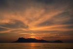 Sun set over Santubong Peninsula, from Bako National Park, Sarawak, Borneo.