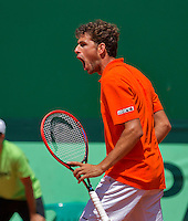 Austria, Kitzbühel, Juli 18, 2015, Tennis,  Davis Cup, second match between Andreas Haider-Maurer (AUT) and Robin Haase (NED), pictured : Robin Haase reacts<br /> Photo: Tennisimages/Henk Koster