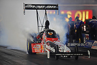 Oct. 31, 2008; Las Vegas, NV, USA: NHRA top fuel dragster driver Doug Herbert does a burnout during qualifying for the Las Vegas Nationals at The Strip in Las Vegas. Mandatory Credit: Mark J. Rebilas-