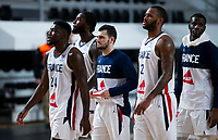 22nd February 2021, Podgorica, Montenegro; Eurobasket International Basketball qualification for the 2022 European Championships, England versus France;  Amath M'Baye of France, Mathias Lessort of France, Yakuba Ouattara of France, Axel Julien of France, Lahaou Konate of France frsutrated at losing the game
