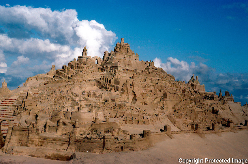 San Diego: Sand Castles, Village. (A sort of Mount St. Michelle)  (Photo '85)