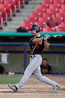 Tim Smalling #9 of the Modesto Nuts bats against the High Desert Mavericks at Stater Bros. Stadium on June 29, 2013 in Adelanto, California. Modesto defeated High Desert, 7-2. (Larry Goren/Four Seam Images)