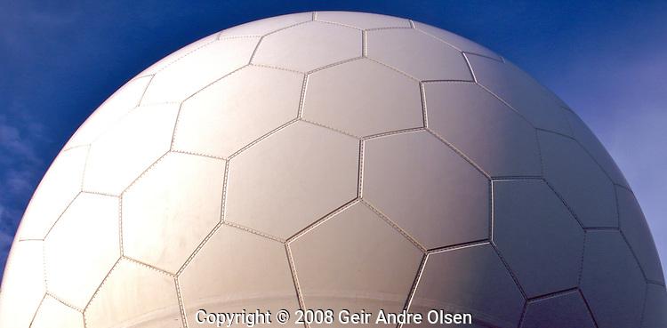 The radar doom at lutvann outside Oslo in Norway looks just like gigantic football