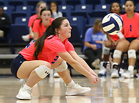 Maddux McCrackin (12) of Har-ber bumps ball on Tuesday, October 12, 2021, during play at Wildcat Arena, Springdale. Visit nwaonline.com/211013Daily/ for today's photo gallery.<br /> (Special to the NWA Democrat-Gazette/David Beach)