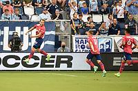 KANSAS CITY, KS - JULY 31: Facundo Quignon #5 FC Dallas celebrates a goal during a game between FC Dallas and Sporting Kansas City at Children's Mercy Park on July 31, 2021 in Kansas City, Kansas.